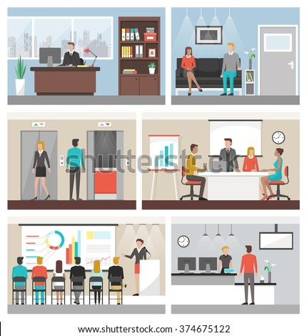 Business people working in the office and corporate building, conference room, reception, waiting room and elevators Royalty-Free Stock Photo #374675122