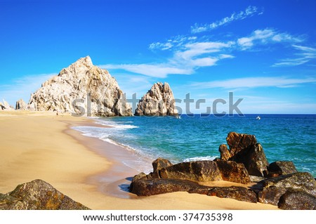The beauty of  Mexico | Baja California Sur : Picturesque view of Lovers Beach (Playa del Amor). Its one of the most beautiful places in Cabo San Lucas, Los Cabos,  Mexico. Mexican riviera. #374735398