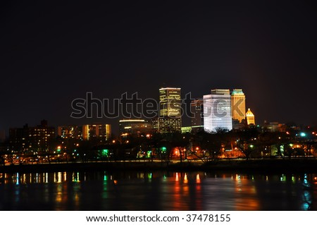 tulsa city skyline seen at night