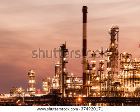 Night view of the refinery petrochemical plant in Gdansk, Poland Europe. #374920171