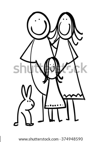 Hand drawn cartoon family with a pet - rabbit - Easter family