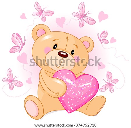 Cute Teddy Bear holds pink love heart