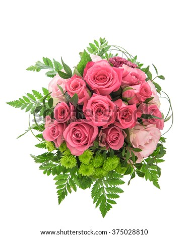 Soft pink roses bouquet on white background. Flowers arrangement #375028810