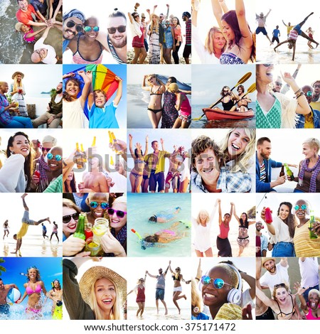 Collage Diverse Faces Summer Beach People Concept #375171472