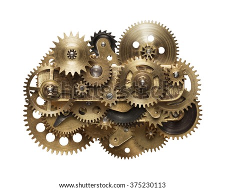 Metal collage of clockwork gears isolated on white background Royalty-Free Stock Photo #375230113