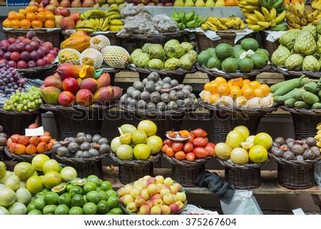 Fresh exotic fruits in Mercado Dos Lavradores. Funchal, Madeira  #375267604