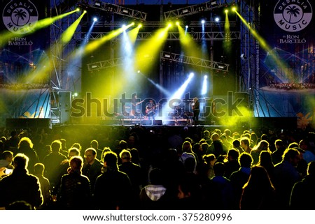 VALENCIA, SPAIN - APR 4: Crowd watch a concert at MBC Fest on April 4, 2015 in Valencia, Spain. #375280996