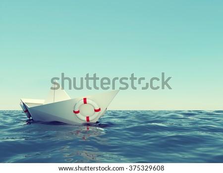 Paper boat in sea #375329608