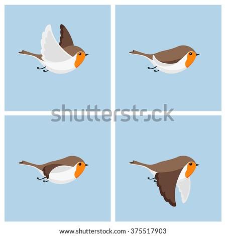 Vector illustration of cartoon flying robin animation sprite sheet