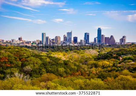 Austin Texas Autumn Greenbelt Overlook Skyline View Cityscape perfect timing as the leaves change to brightly colored yellows and oranges and all shades of green. Closer Deep Texas HIlls