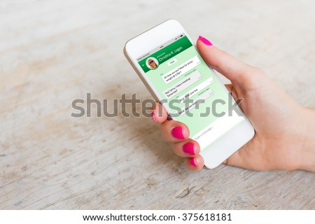 Sample messaging app on smartphone Royalty-Free Stock Photo #375618181