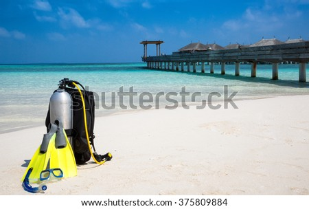 Scuba diving gear on a Maldivian beach #375809884