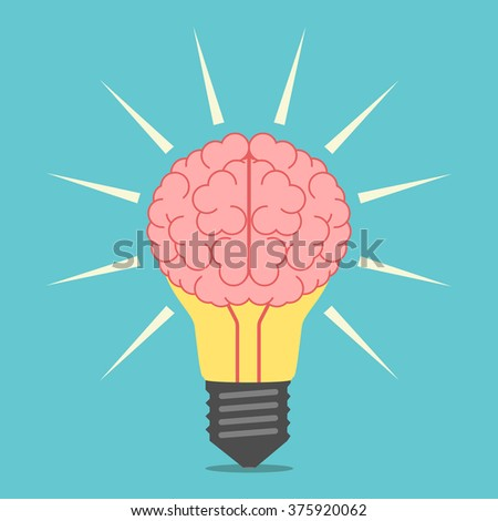 Glowing light bulb with brain. Lightbulb with mind. Idea, creativity, insight, invention, inspiration concept