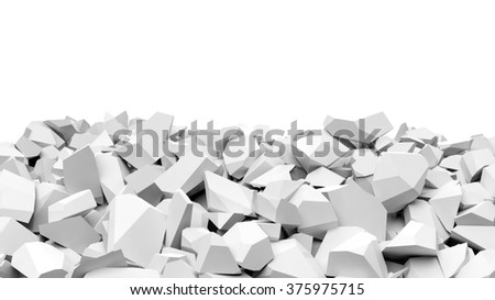 Pile of shattered white pieces of stone, isolated on white with copy-space #375975715