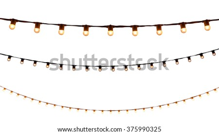 string wired bulbs on white background Royalty-Free Stock Photo #375990325