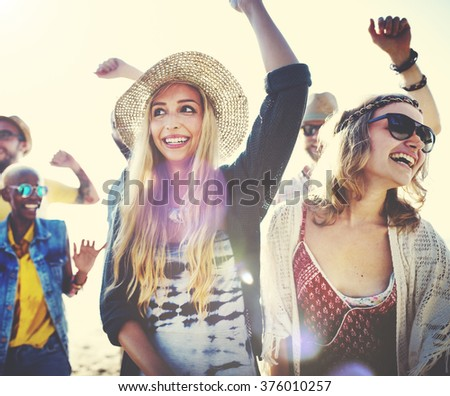 Teenagers Friends Beach Party Happiness Concept #376010257
