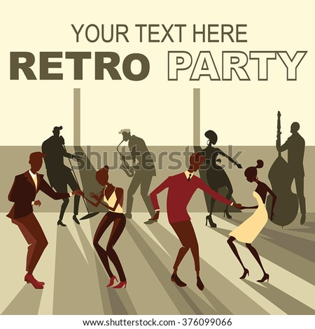Vector illustration of people dancing the twist on the retro party #376099066
