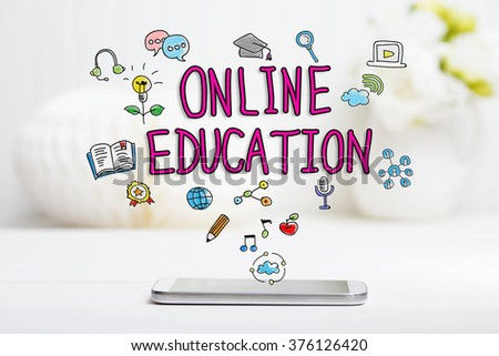 Online Education concept with smartphone on white table