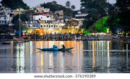 'Mesmerising & Scenic-The Nakki Lake' This image shows a sight of one of the most famous tourist spots in Mount Abu- The Nakki Lake.(Mount Abu is a hill station located in Rajasthan) #376190389