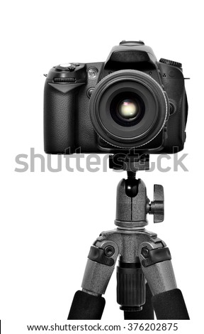 DSLR camera on a tripod, isolated on a white background. #376202875