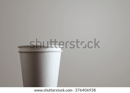 Close up detail of two blank take away paper glass isolated on white background #376406938