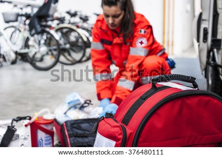 emergency operator in service Royalty-Free Stock Photo #376480111
