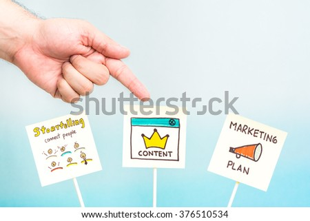 Hand pointing storytelling, content and marketing plan notes. Digital marketing concept.