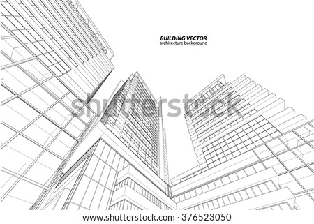 Perspective 3d Wireframe of building Royalty-Free Stock Photo #376523050