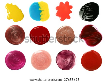 set of nail polish and lip gloss samples isolated on white #37655695
