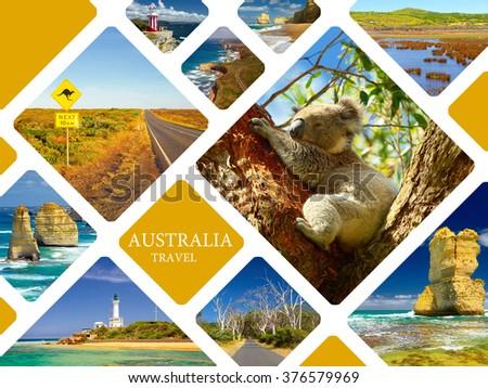 Traveling to Australia. Travel collage