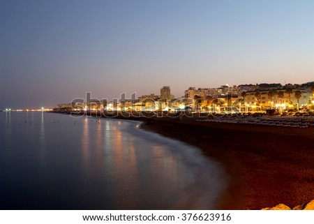 Costa del Sol (Coast of the Sun) at night, Malaga in Andalusia, Spain  #376623916