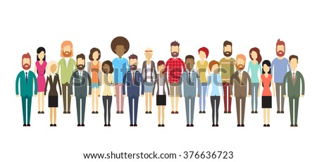 Group of Business People Big Crowd Business people Mix Ethnic Flat Vector Illustration #376636723