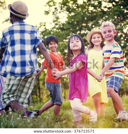 Children Friends Playing Playful Active Concept #376713571