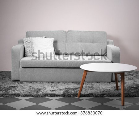 Interior with grey sofa and modern table #376830070