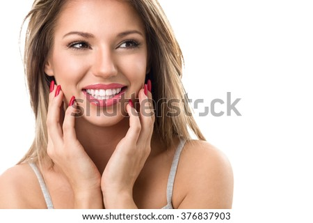 Young cute smiling girl with perfect white teeth on white background #376837903