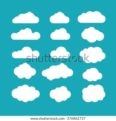 Set of blue sky, clouds. Cloud icon, cloud shape. Set of different clouds. Collection of cloud icon, shape, label, symbol. Graphic element vector. Vector design element for logo, web and print. Royalty-Free Stock Photo #376862737