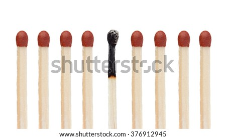 Set of wooden matches isolated on white background #376912945
