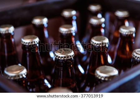 Crate with full beer bottles Royalty-Free Stock Photo #377013919