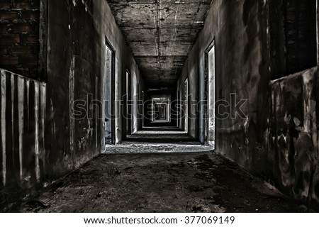 scary hallway walkway in abandoned building Royalty-Free Stock Photo #377069149