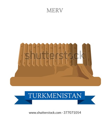 Merv in Turkmenistan. Flat cartoon style historic sight showplace attraction web site vector illustration. World countries cities vacation travel sightseeing Asia collection. #377071054