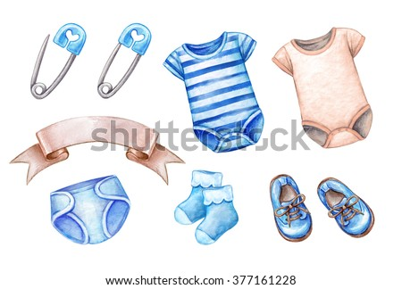 baby shower clip art, newborn boy design elements, watercolor illustration isolated on white background