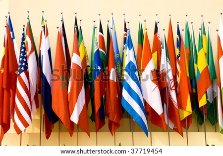 Colorful flags of a variety of nations