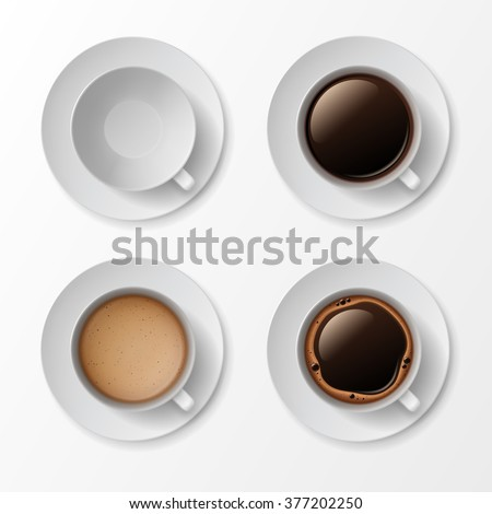 Vector Set of Coffee Cup Mug with Crema Foam Bubbles Top View Isolated On White Background #377202250