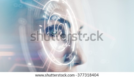 Closeup of woman eye with visual effects, isolated on white background. Horizontal Royalty-Free Stock Photo #377318404