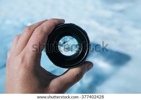 length of the lake Baikal through the camera lens #377402428