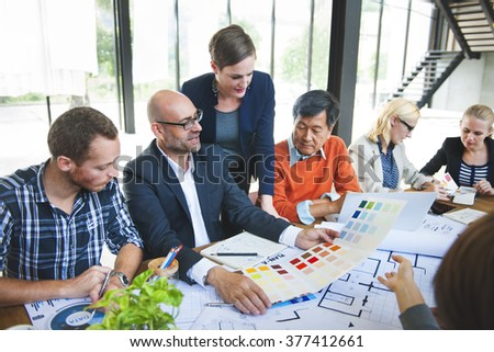 Designers and Architects Working in the Office Concept #377412661
