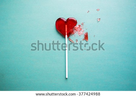 broken heart lollipop Royalty-Free Stock Photo #377424988