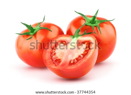 Tomato isolated on white background. Organic food. Ideal for packaging design, labels, posters and more. #37744354