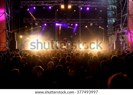 VALENCIA, SPAIN - APR 5: Crowd watch a concert at MBC Fest on April 5, 2015 in Valencia, Spain. #377493997