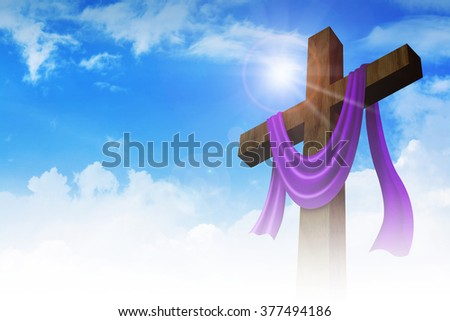 A cross with purple sash on clouds background for good friday and christianity theme #377494186